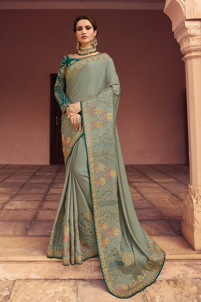 Barfi Silk Saree Light Olive Green Color