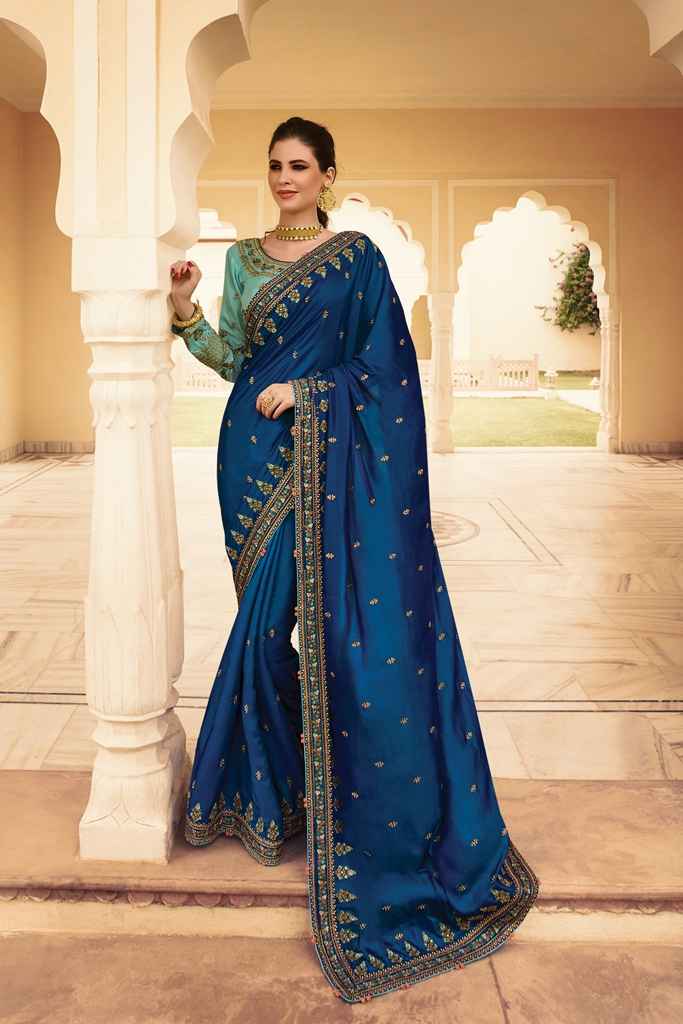 Barfi Silk Saree Navy Blue Color