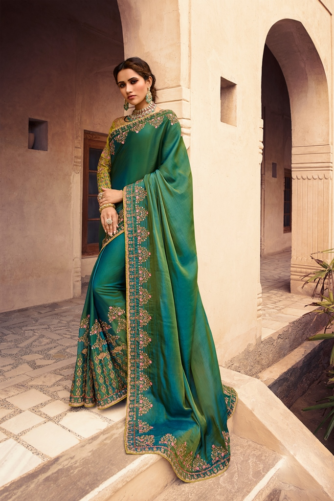 Barfi Silk Saree Two Tone Green Color