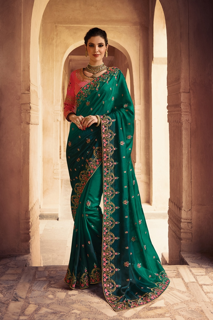 Barfi Silk Saree Dark Green Color