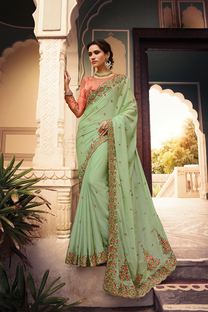 Barfi Silk Saree Dark Sea Green Color