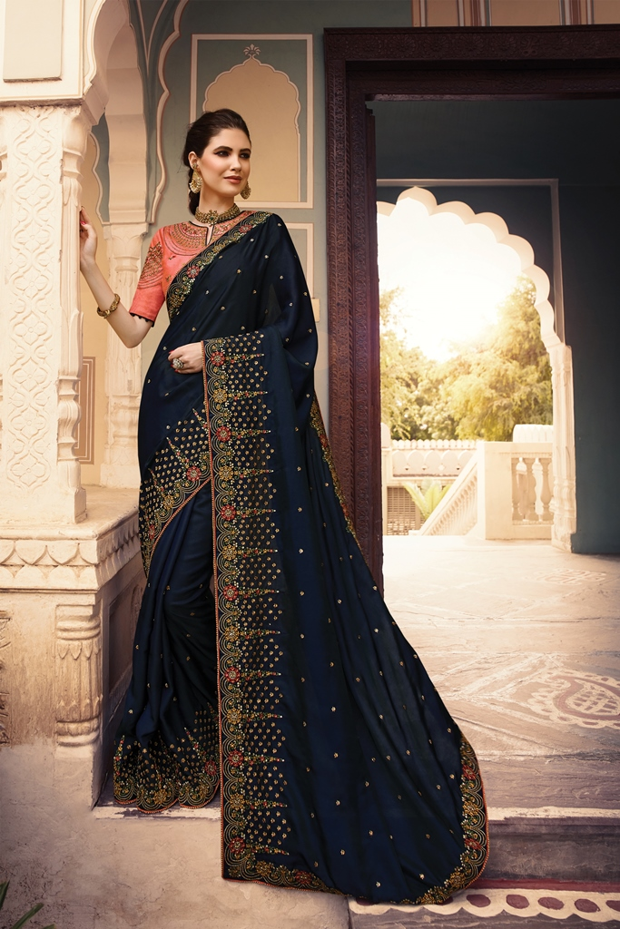 Barfi Silk Saree Dark Navy Blue Color