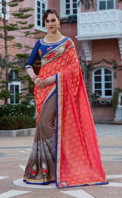 Designer Embroidery Chiku & Red Georgtte &Jecart Saree