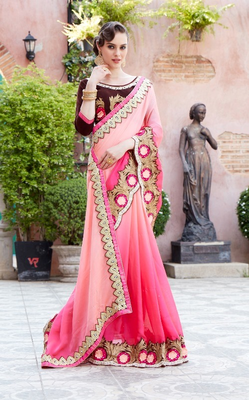 Designer Embroidery Peach Georgtte Saree