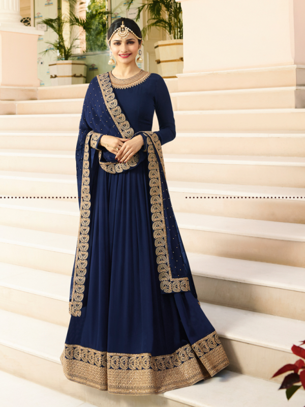Designer Partywear Navy Blue Silk Anarkali Suit