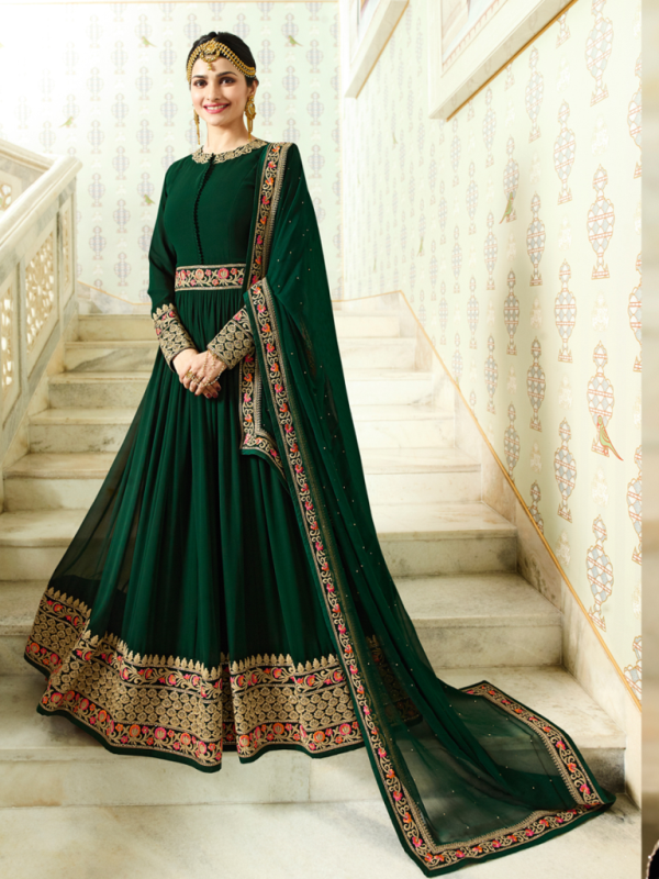 Designer Partywear Dark Green Silk Anarkali Suit