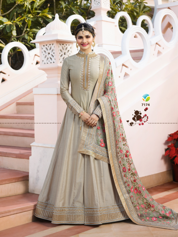 Designer Partywear Grey Silk Anarkali Suit