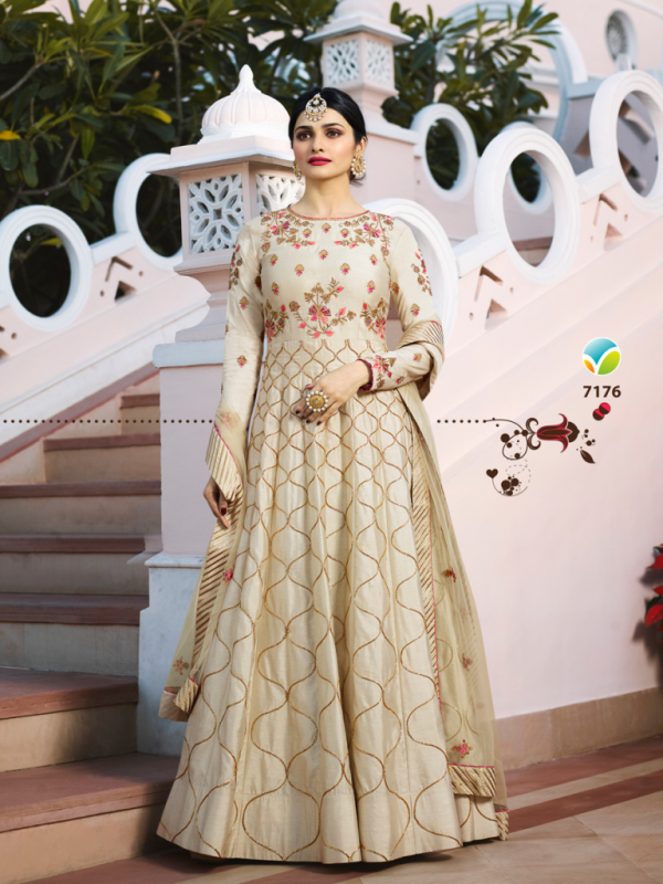 Designer Partywear Cream Silk Anarkali Suit