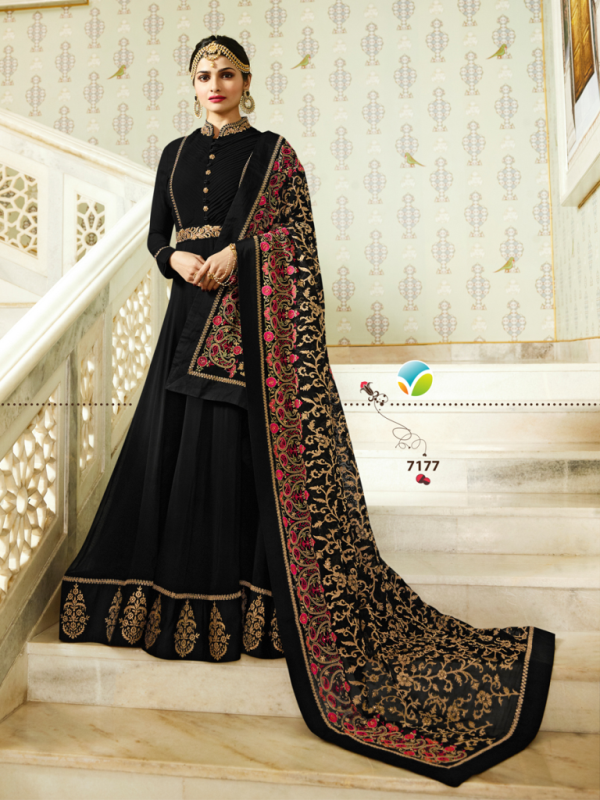 Designer Partywear Black Silk Anarkali Suit