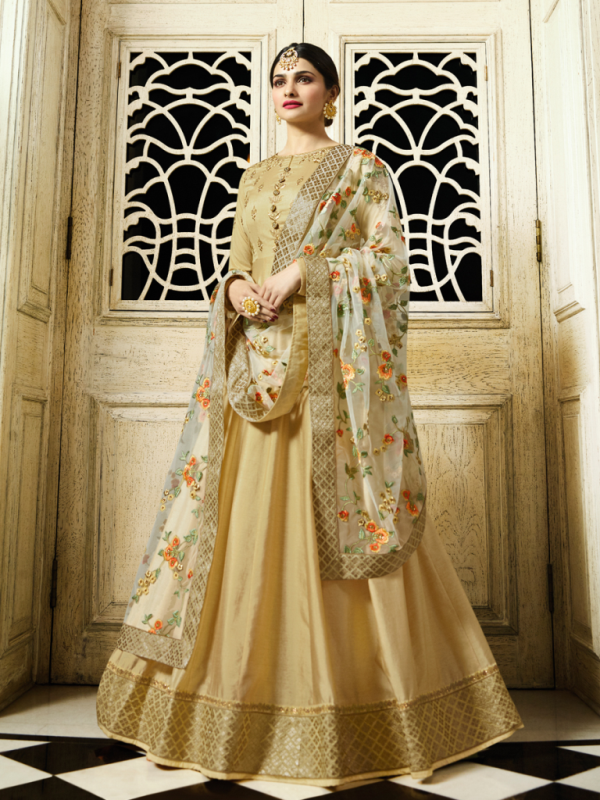 Designer Partywear Yellow Silk Anarkali Suit