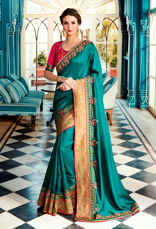 Heavy Satin Silk Saree Rama Color