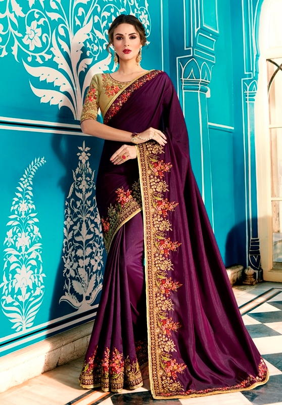 Heavy Barfi Silk Saree Wine Color