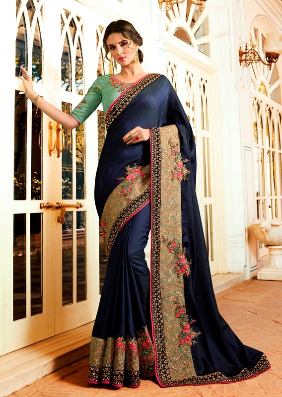 Heavy Garima Silk Saree Navy Blue Color