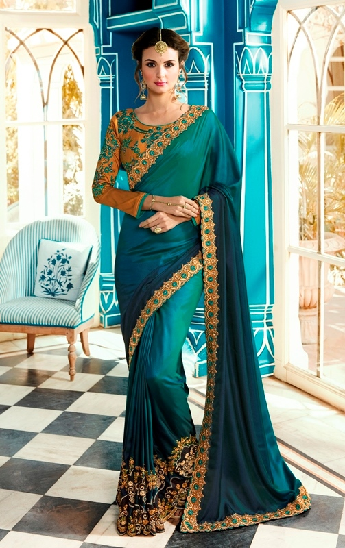 Heavy Silk Saree Blue Color