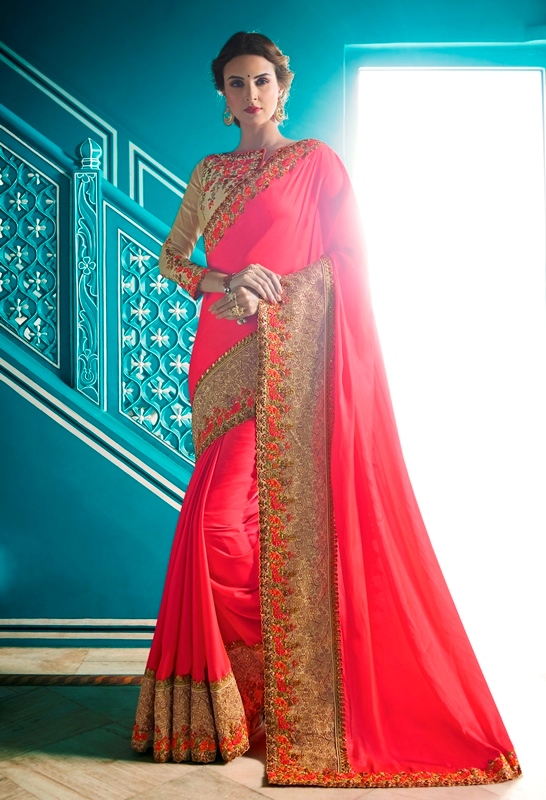 Heavy Garima Silk Gajari Color