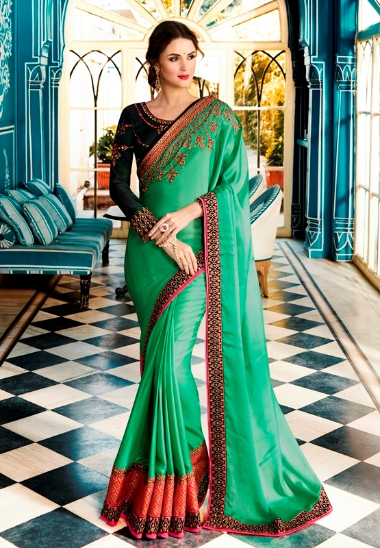 Heavy Barfi Silk Saree Parrot Green Color