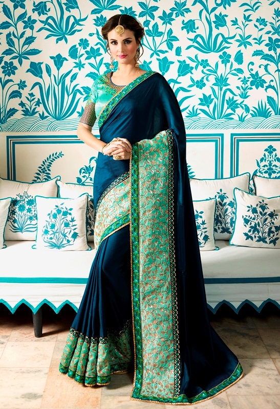 Heavy Barfi Silk Saree Navy Blue Color