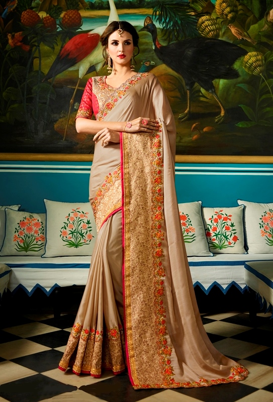 Heavy Garima Silk Saree Chiku Color