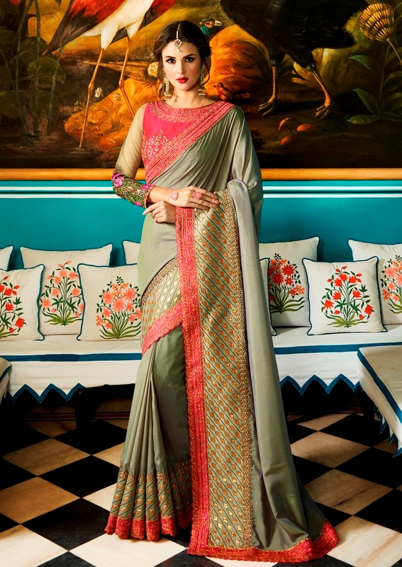 Heavy Barfi Silk Saree Dusty Green Color