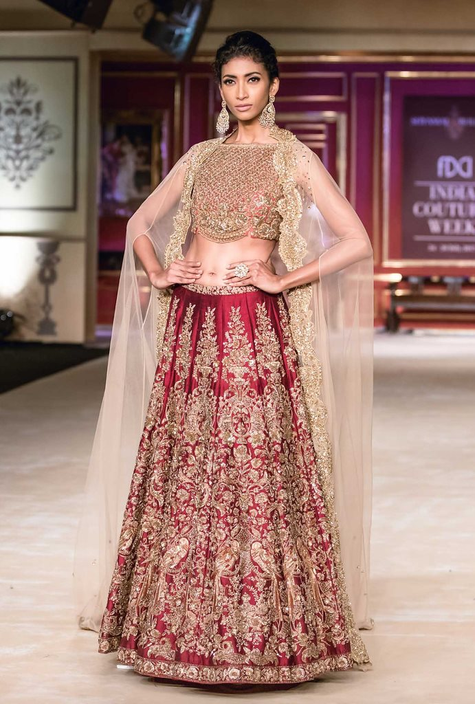 Wedding Embroidery Cherry Red Malai Satin Bridal Lahengha