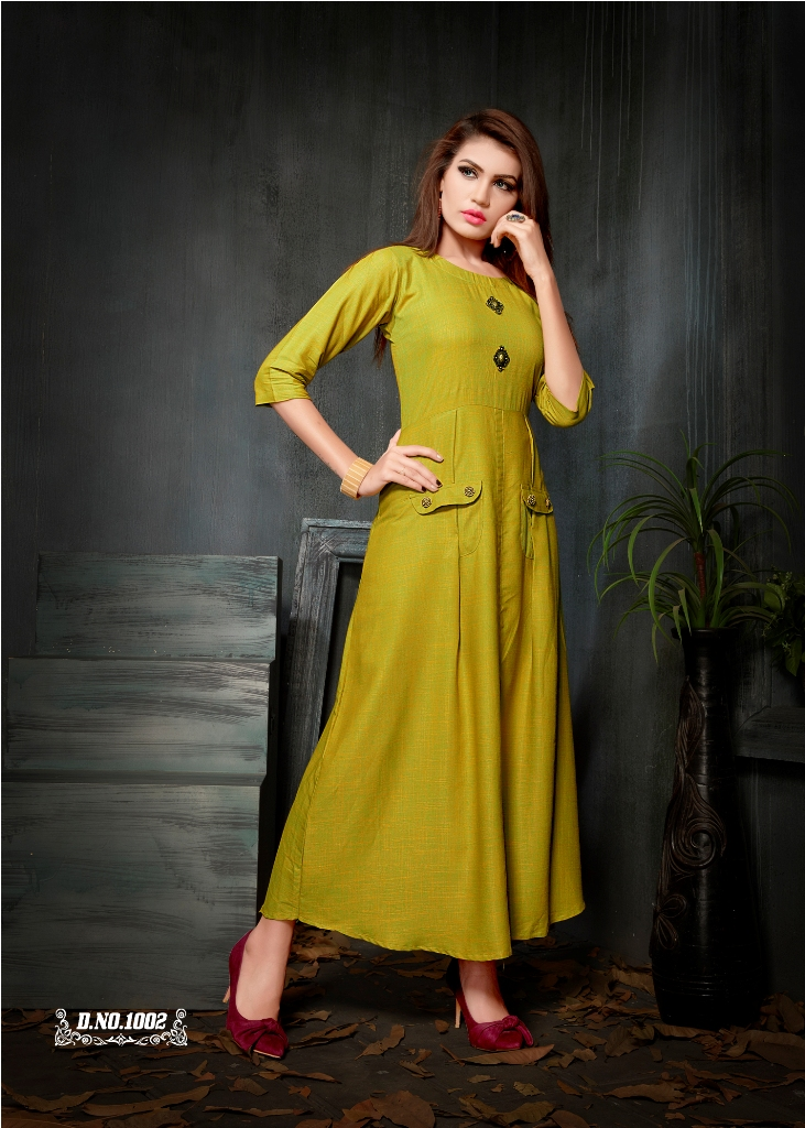 Partywear Designer Yellow Green Rayon 2 Ton Fancy Kurti