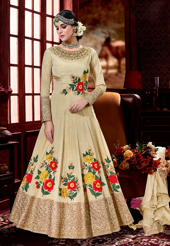 Beautiful Designer Suit In Cream