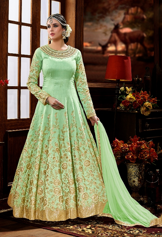 Beautiful Designer Suit In Pastel Green