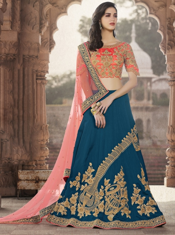 Jari Embroidery With Stone Work Art Silk Lehenga Blue