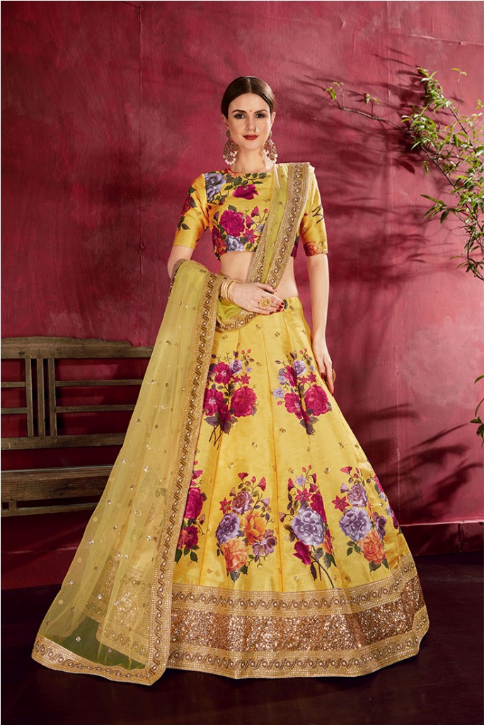 Adorn A Lovely Trendy Look This Wedding Season With This Heavy Designer Lehenga Choli