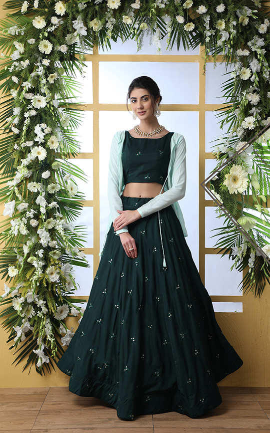 Set A New And Latest Trend In Indo-Western Lehenga Choli With Jacket With This Designer Piece