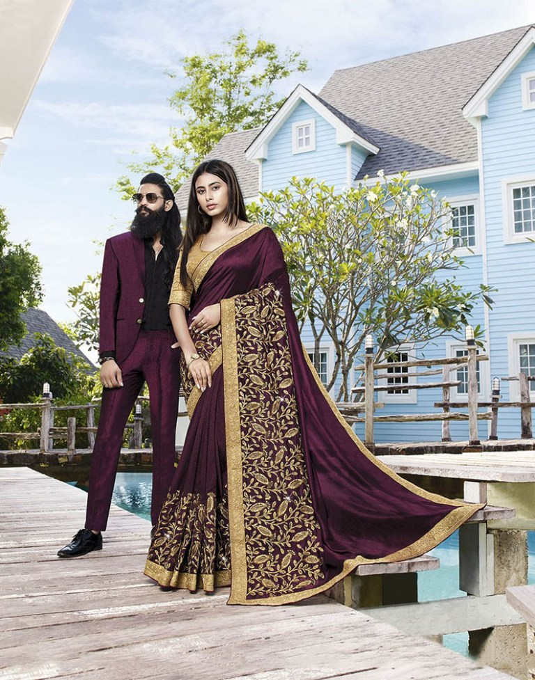 Shine Bright Wearing This Attractive Looking Heavy Designer Saree